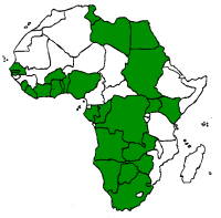 Political map of Africa with countries from which I have received scam e-mails marked